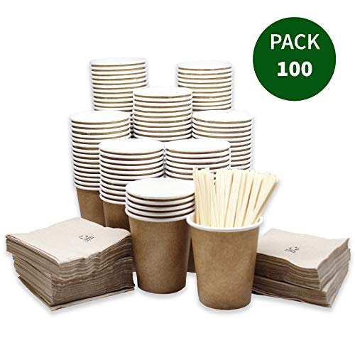 econuk – 100 Vasos Desechables Cafe biodegradables de...