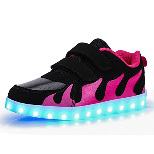 KE- Zapatillas de deporte con luces de LED, Black and...