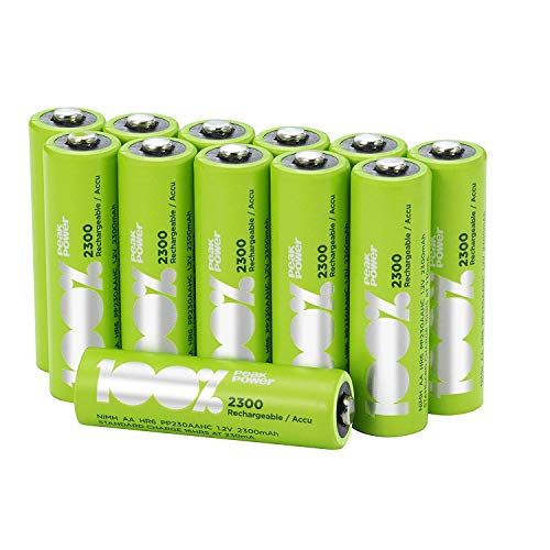 12 x AA 100%PeakPower Rechargeable Batteries : Capacité...