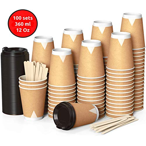 100 Kraft Vasos Desechables 360 ml de Doble Pared de...