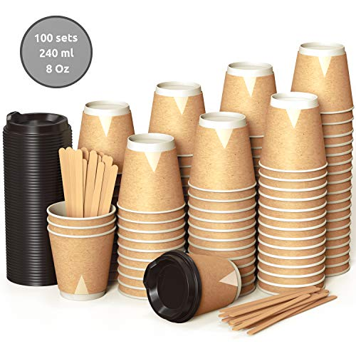 100 Kraft Vasos Desechables 240 ml de Doble Pared de...